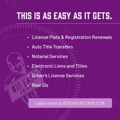 This is as easy as it gets. License plate and registration renewals, auto title transfers, and notarial services.